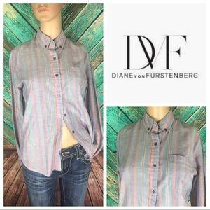Diane Von Furstenberg Vintage Striped Oxford